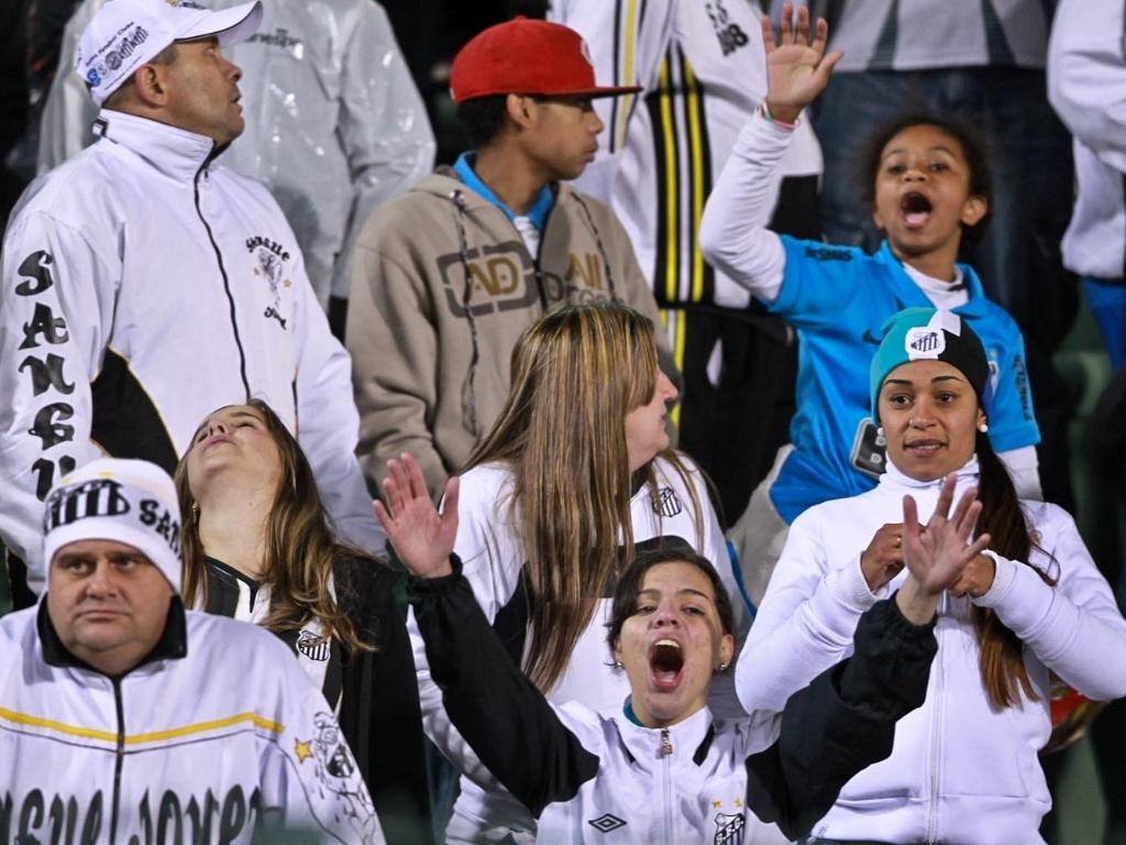 Torcedores do Santos acompanham a decisão da Recopa Sul-Americana contra a Universidad de Chile no Pacaembu