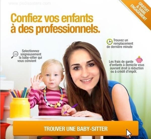 Nesse anúncio em francês para quem precisa achar uma babá, a moça aparece com uma cabeça totalmente desproporcional. Assim vai assustar as crianças...