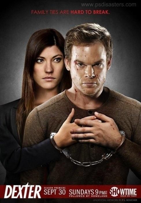 Nesse cartaz anunciando a nova temporada de Dexter, a mão da personagem Debra Morgan aparece ''enxertada'' na cena e ficou bem pouco natural