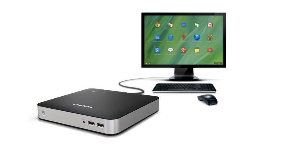 O Samsung Chromebox é um computador compacto, equipado com processador Intel, 4 GB de RAM, 6 portas USB e compatibilidade com entradas HDMI, DVI e VGA. O produto é vendido por cerca de R$ 680