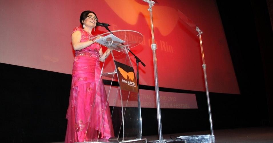 A atriz Regina Duarte fala na abertura do Festival do Rio nesta quinta, no Cine Odeon, centro da cidade (27/9/12)