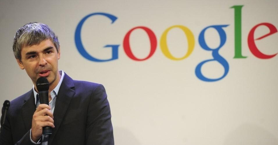 Larry Page, diretor-executivo do Google, fala durante coletiva de imprensa da companhia realizada nos EUA