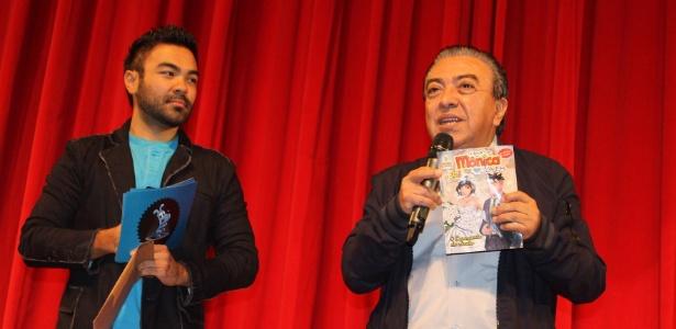 Maurício de Sousa e seu filho, Mauro (esq), apresentam novos projetos do Grupo Mauricio de Sousa (28/9/12) - Divulgação