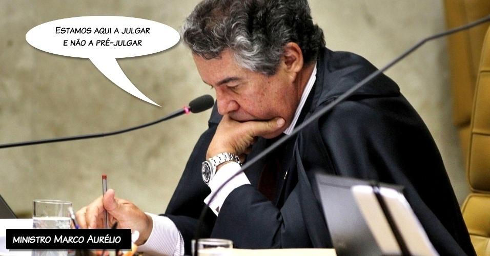 """1.out.2012 - """"Estamos aqui a julgar e não a pré-julgar"""", afirmou o ministro Marco Aurélio durante seu voto"""