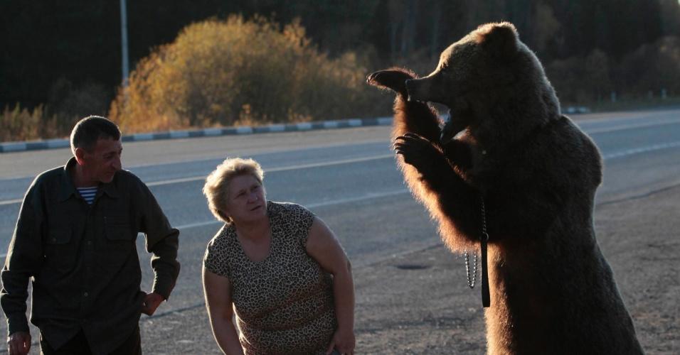 1º.out.2012 - Homem e mulher observam urso siberiano empalhado em área próxima ao vilarejo de Kozulka, na Rússia