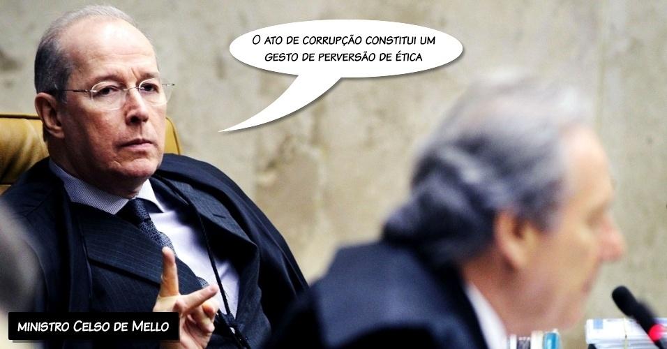 """1.out.2012 - """"O ato de corrupção constitui um gesto de perversão de ética"""", afirmou o ministro Celso de Mello ao condenar a corrupção em um longo discurso"""