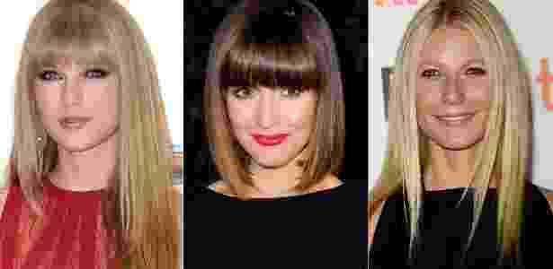 Taylor Swift, Rose Byrne e Gwyneth Paltrow exibem fios retos em alta na temporada - Getty Images/Montagem