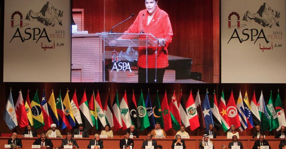 2.out.2012 - Presidente Dilma Rousseff discursa na cerimônia da abertura da Aspa, realizada em Lima, Peru