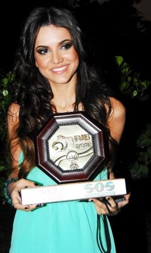 A cantora Manu Gavassi comparece ao 11º Prêmio Jovem Brasileiro para receber o prêmio de melhor cantora de 2012. A cerimônia aconteceu no Memorial da América Latina, em São Paulo, com apresentação de Marcos Mion e Maria Paula (2/10/12)