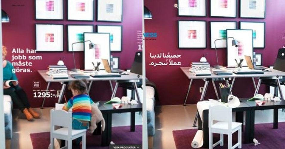 A loja sueca de móveis e decoração Ikea apagou as mulheres que aparecem em seu catálogo 2013 para a Arábia Saudita. Segundo a versão sueca do jornal ''Metro'', que descobriu a mudança, o catálogo escrito em 27 línguas é distribuído em 38 países, praticamente sem alterações. A versão saudita, no entanto, não contém mulheres. Ewa Björling, ministra sueca para o comércio, afirmou se tratar de um triste exemplo de opressão. Josefin Thorell, porta-voz da Ikea, pediu desculpas pelos retoques: ''Deveríamos ter percebido que isso entra em conflito com nossos valores''