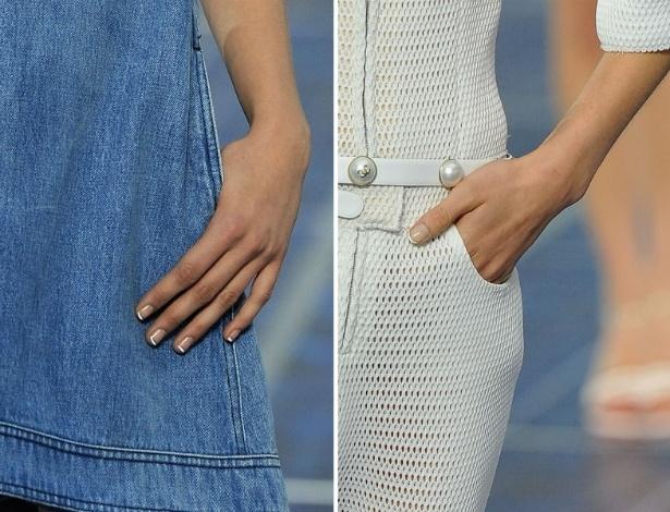 Em desfile feminino para o Verão 2013, Chanel aposta na unha francesinha - Getty Images