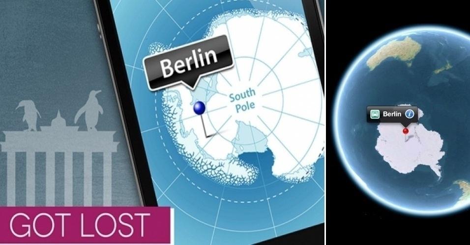 A Apple recebe provocações (em forma de propagandas, mensagens na web ou declarações de seus executivos) de seus concorrentes e outras empresas com muita frequência. A empresa de serviço de mapas iGO aproveitou as falhas do Apple Maps e lançou esse anúncio (à esquerda) satirizando um erro do app da Apple (à direita)