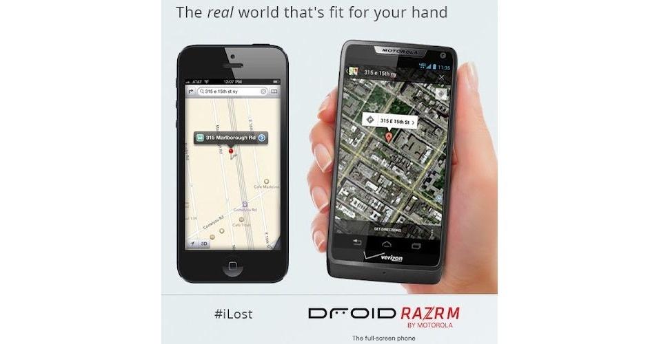 A Apple recebe provocações (em forma de propagandas, mensagens na web ou declarações de seus executivos) de seus concorrentes e outras empresas com muita frequência. A Motorola também satirizou os erros do Apple Maps