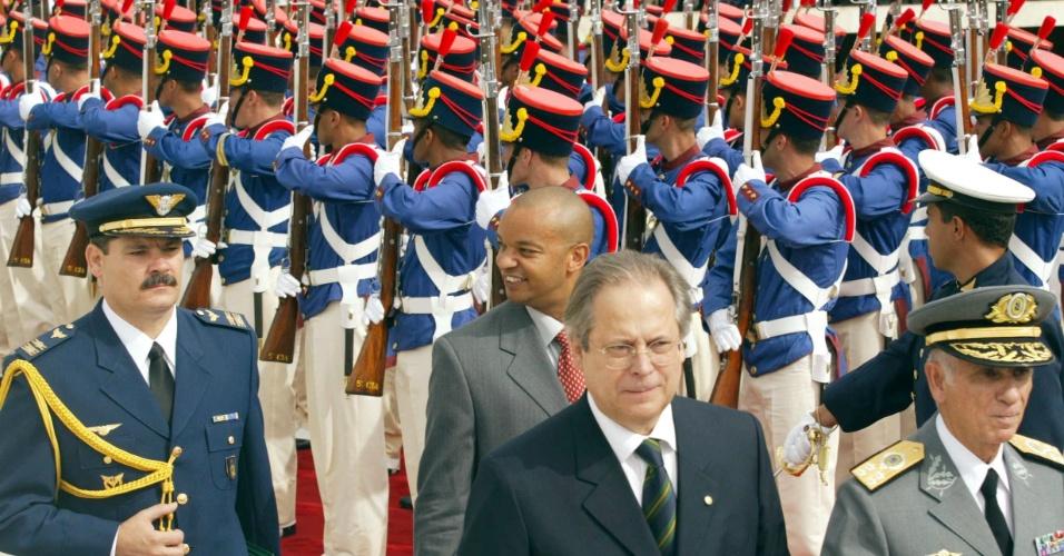 José Dirceu participa da cerimônia de posse do primeiro mandato de Lula em janeiro de 2003, em Brasília