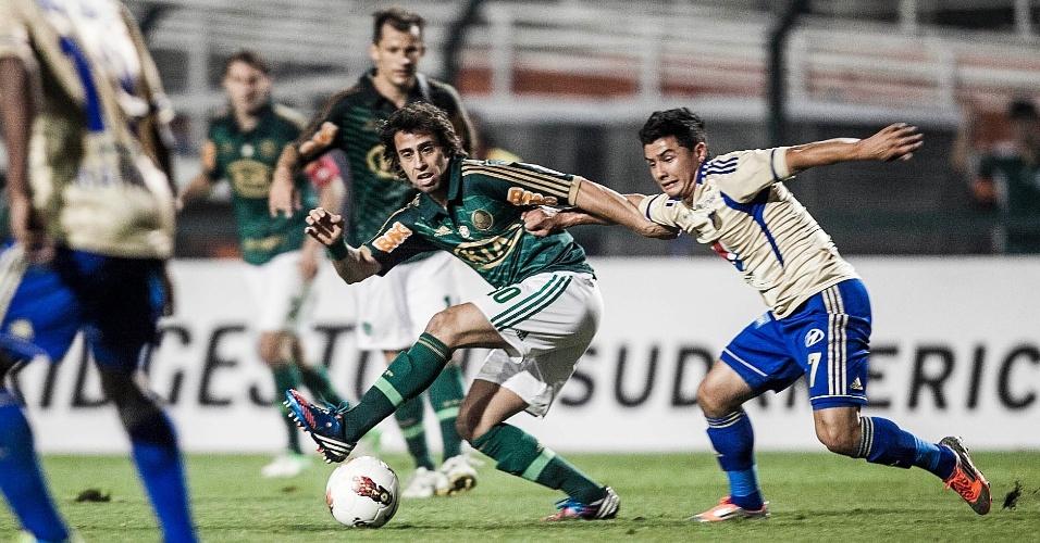 Meia Valdivia, do Palmeiras, veio do banco e entrou no segundo tempo no jogo contra o Millonarios