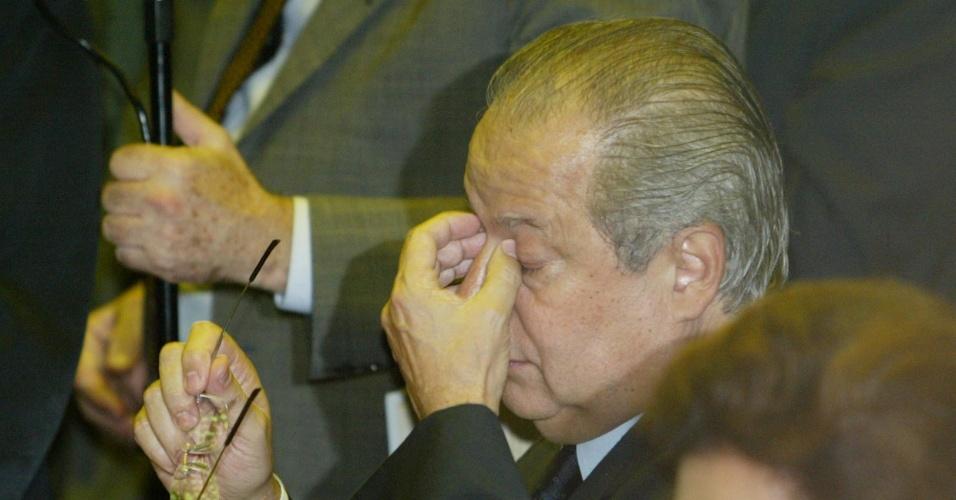 O ex-ministro José Dirceu (PT-SP) na sessão da Câmara dos Deputados em que teve seu mandato de deputado federal cassado, em 2005