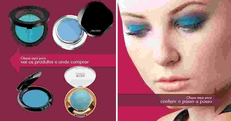 Passo a passo ensina a compor look com sombra azul; aprenda - Montagem/Fabiano Cerchiari/Carla Pinto/UOL