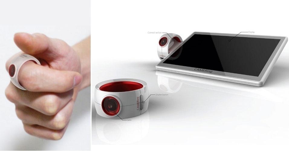 2.out.2012 - Discrição é o sobrenome da câmera acima, chamada Camer-ing (uma junção das palavras câmera e anel). O projeto, ainda sem data de lançamento, propõe que o usuário tire fotos com esse equipamento que se encaixa no dedo. De acordo com o ''Yanko Design'', a câmera trabalha em sincronia com um tablet, que recebe as imagens para que o usuário as visualize. A ideia foi proposta pelo designer Jeon Yengwon