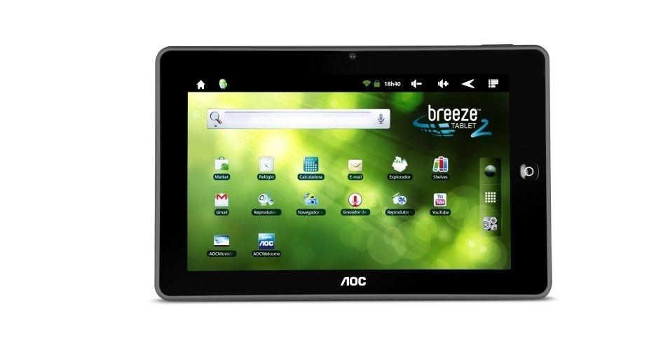4.out.2012 - O tablet AOC Breeze 2 possui tela de 8 polegadas, câmera traseira de 3 megapixels, memória de 8 GB e 508 gramas de peso. O preço sugerido do aparelho é R$ 650. Com um bom touscreen, o dispositivo também não decepciona na hora de se conectar à internet, mas poderia ter uma câmera frontal melhor