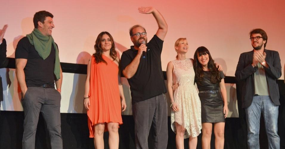 """O elenco de """"O Gorila"""" na pré-estreia do filme, com direção de José Eduardo Belmonte, durante o Festival do Rio 2012, no Cine Odeon BR (4/10/12)"""