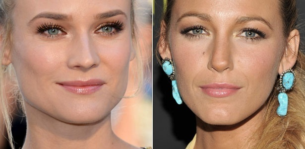 As atrizes Diane Kruger e Blake Lively são adeptas do ponto de luz no canto dos olhos - Getty Images/Montagem
