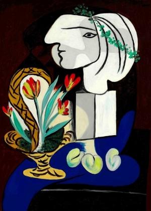 """O quadro """"Nature morte aux tulipes"""", de Picasso, é um retrato cubista de sua musa e amante Marie-Therese Walter -  Sotheby""""s/Reuters"""