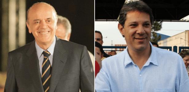 José Serra (à esq.) e Fernando Haddad (dir.) superaram Celso Russomanno na reta final da campanha