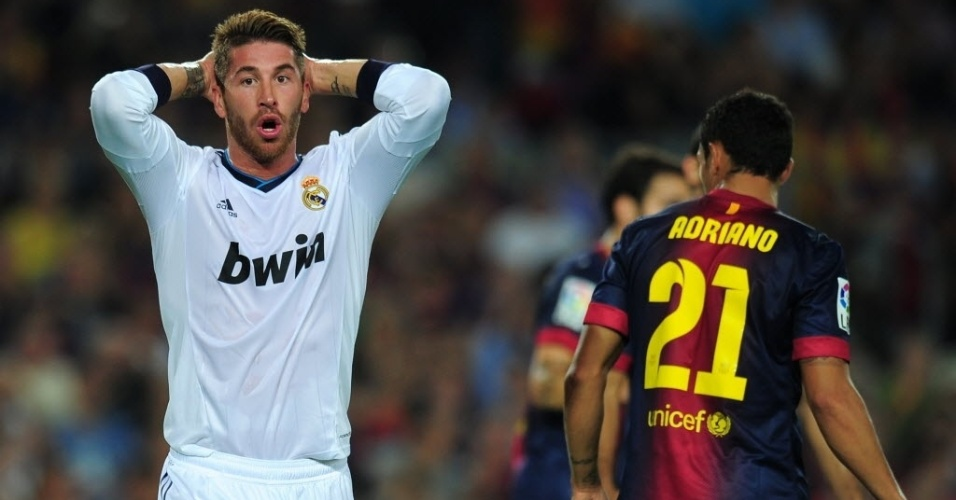 Sergio Ramos, zagueiro do Real Madrid, lamenta jogada perdida na partida contra o Barcelona, no Camp Nou, pelo Campeonato Espanhol