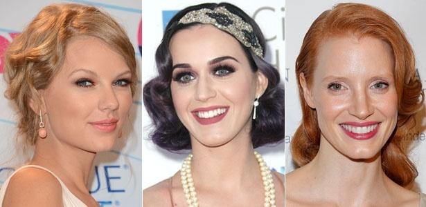 Taylor Swift, Katy Perry e Jessica Chastain são adeptas do penteado estilo antigo - Getty Images