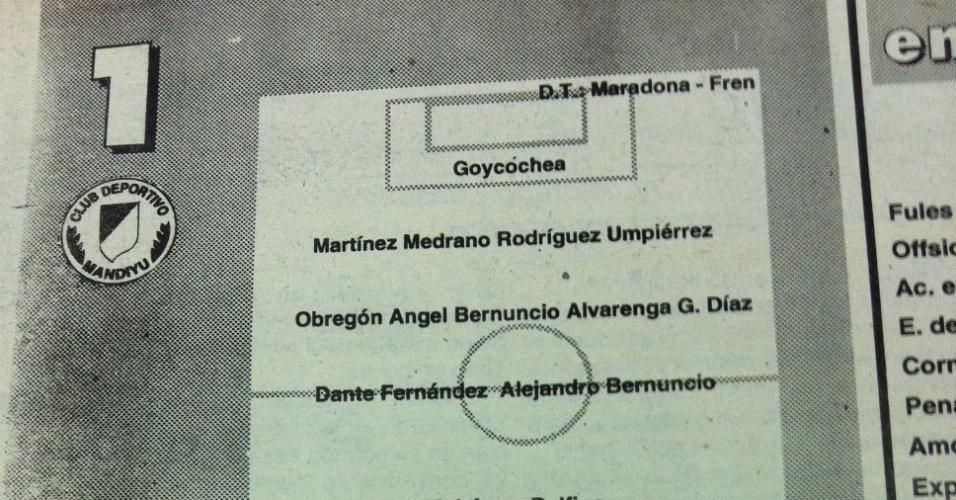 Ficha técnica do primeiro jogo de Maradona como técnico