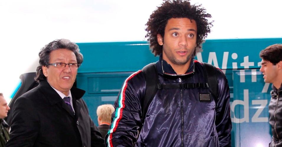 Lateral Marcelo chega à Polônia para amistosos da seleção brasileira