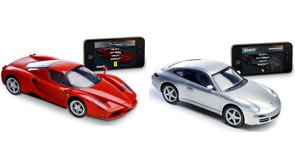 9.out.2012 -- Agora você já pode ter um Porsche 911 Carrera. Ou uma Ferrari Enzo. De miniatura, é claro: os dois modelos da Silverlit são controlados via iPhone, iPod touch e iPad. O usuário deve apenas baixar o aplicativo e movimentar o aparelho para enviar os comandos aos carrões. Segundo o fabricante, modelos são produzidos com autorização das montadoras. Nos EUA, as miniaturas custam US$ 80 (cerca de R$ 160)