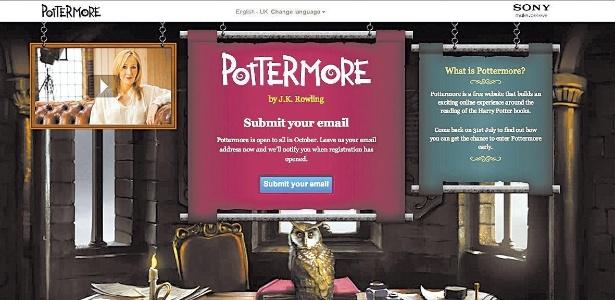 Reprodução da página inicial do site Pottermore  - Reprodução