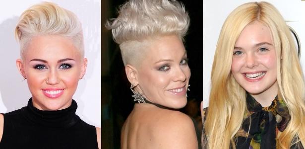 Miley Cyrus e Pink exibem fios platinados, enquanto Elle Fanning fica no meio termo, com um loiro menos radical - Getty Images