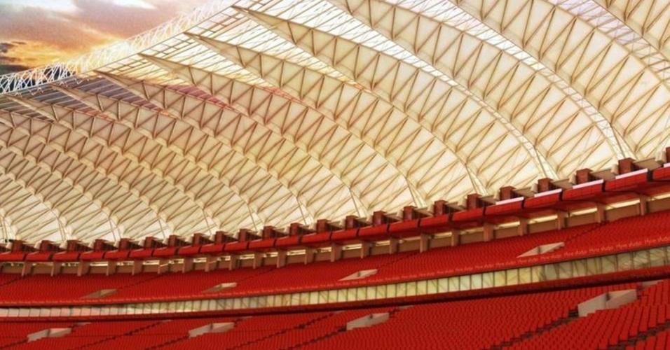 Cobertura que será instalada na reforma do estádio Beira-Rio - Projeto Gigante Para Sempre - do Internacional (Arquivo)