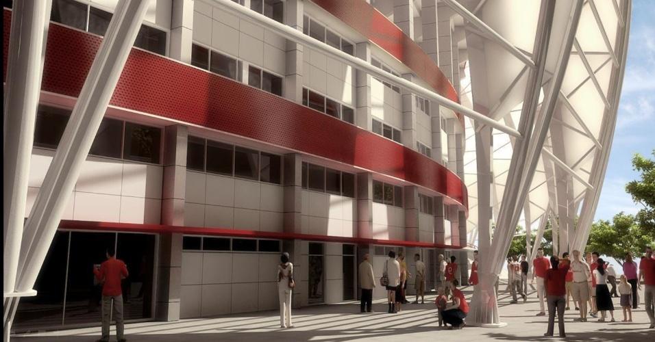 Parte externa e bases da cobertura que será instalada na reforma do estádio Beira-Rio - Projeto Gigante Para Sempre - do Internacional (Arquivo)