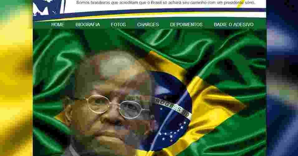 Site criado por anônimos pede que o ministro Joaquim Barbosa se candidate a presidente em 2014 - Reprodução