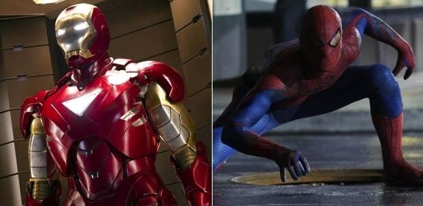 Versões cinematográficas dos heróis Homem de Ferro e Homem-Aranha, que foram criados pelo quadrinista Stan Lee - Divulgação