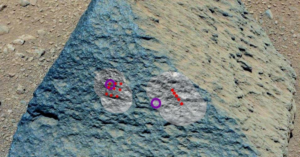 12.out.2012 - Foto divulgada pela agência espacial norte-americana, a Nasa, mostra pedra encontrada pelo robô Curiosity na superfície marciana. A pedra se assemelha a similares em regiões vulcânicas da Terra