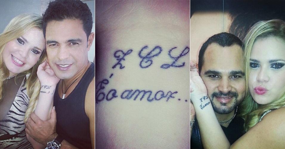 Ex-BBB Paulinha Leite tatuou no pulso uma homenagem à dupla Zezé Di Camargo e Luciano (12/10/12)