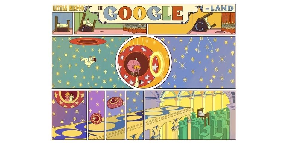 15.out.2012 - Para homenagear o cartunista americano Winsor McCay, que faria 107 anos neste dia, o Google criou uma tira de quadrinhos interativa no lugar de seu logotipo no serviço de buscas. O ''doodle'' faz referência ao desenho ''Little Nemo in Slumberland'', o primeiro criado por McCay, sobre um menino que vivia histórias fantásticas e no final acordava em sua própria cama