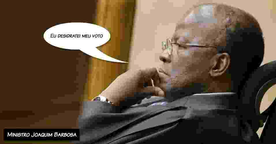 """15.out.2012 - """"Eu desidratei meu voto"""", diz o ministro Joaquim Barbosa, explicando que deixou o voto mais curto nessa reta final de julgamento do mensalão - Divulgação/STF"""