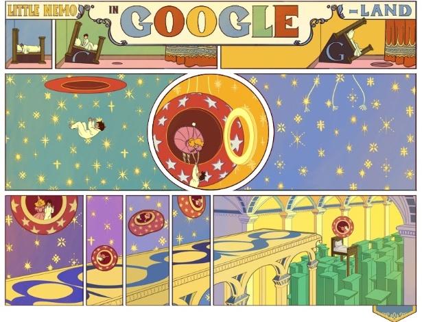 Google presta homenagem ao cartunista Winsor McCay em logo interativo nesta segunda (15) - Reprodução / Google