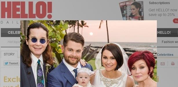 Jack Osbourne se casou com Lisa Stelly no Havaí. Na imagem ele aparece ao lado da filha, Pearl, e dos pais, Ozzy e Sharon