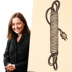 "Barbara Castelli e a obra de Roy Lichtenstein ""Electric Cord"" - Brendan McDermid/Reuters"