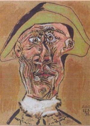 """A obra """"Cabeça de Arlequim"""", de Pablo Picasso, é uma das que foi roubadas do museu holandês e permanece desaparecida - Pablo Picasso/AP Photo/Police Rotterdam"""
