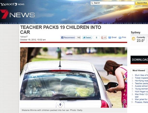 Professora Minnie e as 19 crianças espremidas no carro