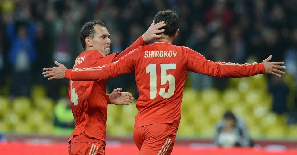 16.out.2012 - Roman Shirokov comemora seu gol na partida entre Rússia e Azerbaijão pelas eliminatórias europeias da Copa do Mundo; russos venceram por 1 a 0