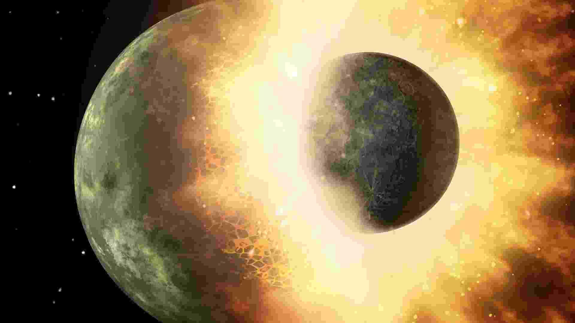 18.out.2012 - Ilustração mostra colisão de um corpo celeste com a Terra, semelhante ao processo que deu origem à Lua. Segundo estudo publicado nesta quarta-feira (18), o satélite natural surgiu a partir de uma nuvem de vapor de zinco após um massivo choque planetário - Nasa/JPL-Caltech
