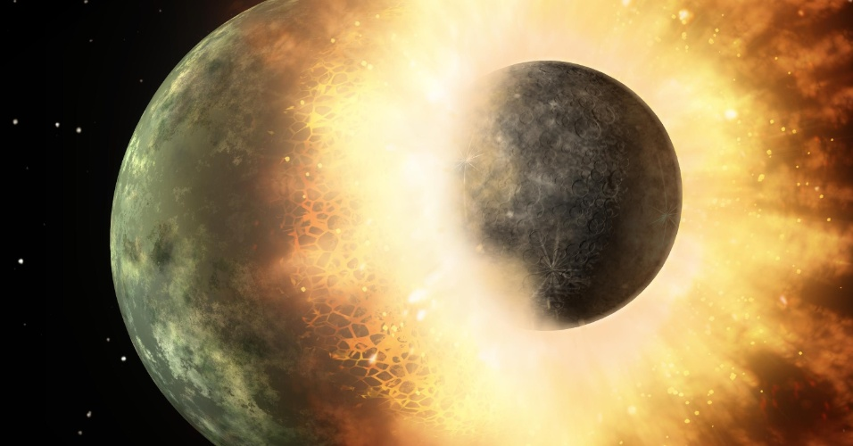 18.out.2012 - Ilustração mostra colisão de um corpo celeste com a Terra, semelhante ao processo que deu origem à Lua. Segundo estudo publicado nesta quarta-feira (18), o satélite natural surgiu a partir de uma nuvem de vapor de zinco após um massivo choque planetário